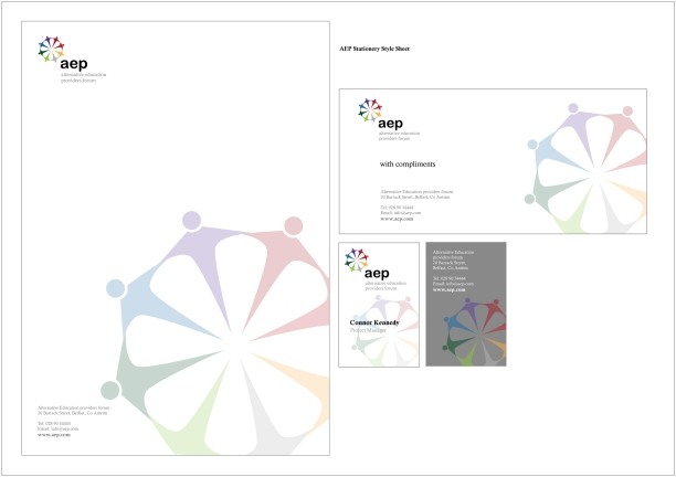 AEP logo and stationery design concept, Belfast