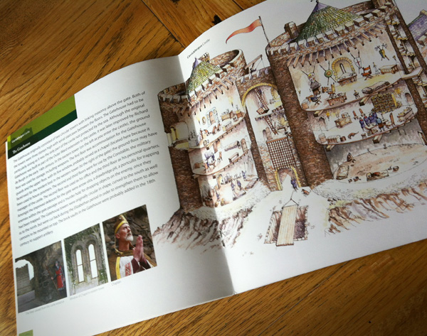Brochure inside spread illustrating features and history (reconstruction)